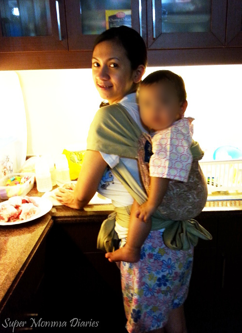 What's for dinner, Mommy? :) Pardon the annoying floral shorts. :D